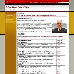 OpenCourseWare: PTC 604: Communication Theory and Research