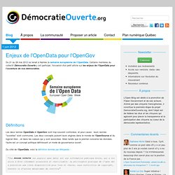 Enjeux de l'OpenData pour l'OpenGov