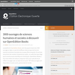 3000 ouvrages de sciences humaines et sociales à découvrir sur OpenEdition Books – L'Édition électronique ouverte