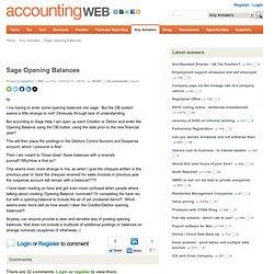 Sage Opening Balances