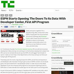 ESPN Starts Opening The Doors To Its Data With Developer Center, First API Program