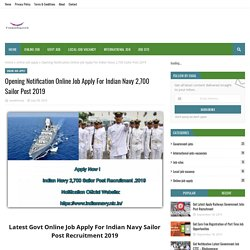 Opening Notification Online Job Apply For Indian Navy 2,700 Sailor Post 2019