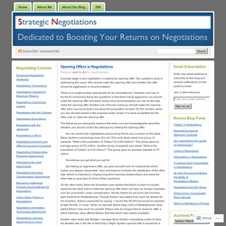 Opening Offers in Negotiations