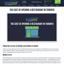 The Cost of Opening a Restaurant in Toronto - Econolease