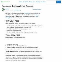 Opening a TreasuryDirect Account
