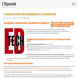 L'OpenLab ouvre son LearningLab le 15 janvier 2015