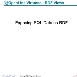OpenLink Virtuoso - RDF Views (1)