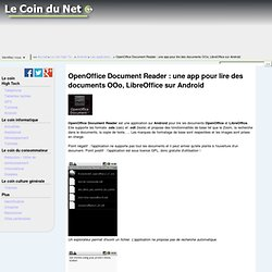 OpenOffice Document Reader : une app pour lire des documents OOo, LibreOffice sur Android - Le coin du net
