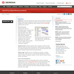 OpenProj Open Source Project Management Software — Serena Software