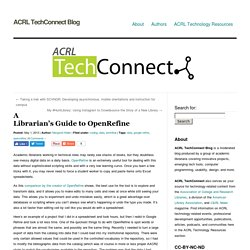 » A Librarian's Guide to OpenRefine ACRL TechConnect Blog