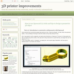 3D printer improvements: How to use Openscad (1), tricks and tips to design a parametric 3D object