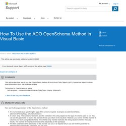How To Use the ADO OpenSchema Method in Visual Basic