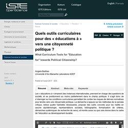 Quels outils curriculaires pour des «éducations à» vers une citoyenneté politique?