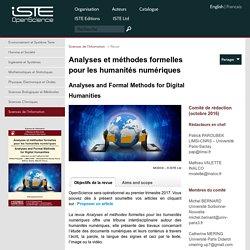 OpenScience - Analyses et méthodes formelles pour les humanités numériques