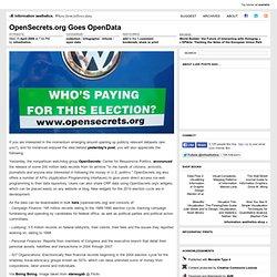 OpenSecrets.org Goes OpenData