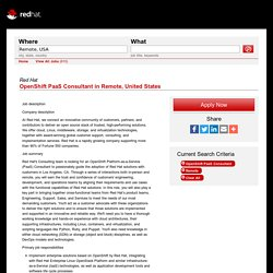 Red Hat Jobs - OpenShift PaaS Consultant in Remote, United States