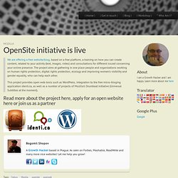 OpenSite initiative is live :: TalkWeb