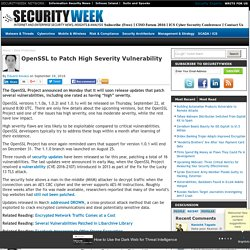 OpenSSL to Patch High Severity Vulnerability