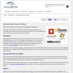 Openstack, AWS, HyperV, VMware