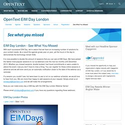 OpenText Content Day London, See What You Missed