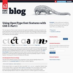 Using OpenType font features with CSS 3: Part 1