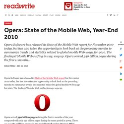 Opera: State of the Mobile Web, Year-End 2010