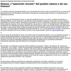 """Obama: ¿""""operación rescate"""" del pueblo cubano o de sus tiranos?"""