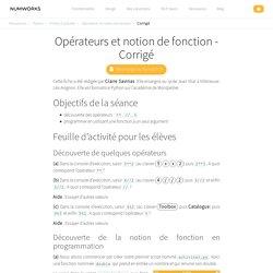 Opérateurs et notion de fonction - Corrigé — NumWorks