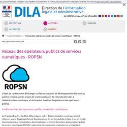 Réseau des opérateurs publics de services numériques - ROPSN - DILA