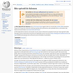 Rite opératif de Salomon — Wikipédia