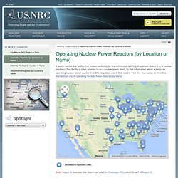 Operating Nuclear Power Reactors (by Location or Name)