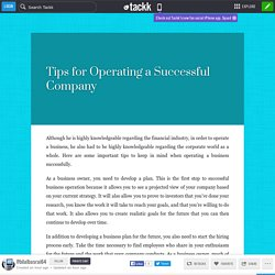Tips for Operating a Successful Company