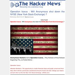 Operation Icarus : Will Anonymous shut down the NYSE (New York Stock Exchange) ? ~ THN : The Hacker News