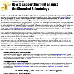 How to support the fight against the Church of Scientology