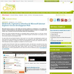 Modern.IE, l'opération séduction de Microsoft Internet Explorer vers les developpeurs Web