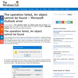 The operation failed, An object cannot be found - Microsoft Outlook error