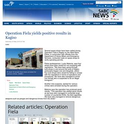 Operation Fiela yields positive results in Kagiso :Saturday 23 May 2015