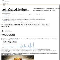 "Operation Gotham Shield: U.S. Gov't To ""Simulate Nuke Blast Over Manhattan"""