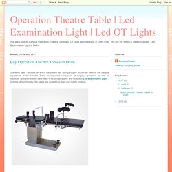 Led OT Lights: Buy Operation Theater Tables in Delhi
