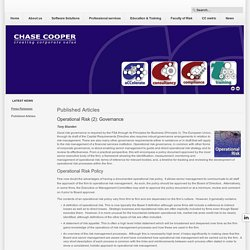 Operational Risk (2): Governance - Chase Cooper