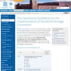 The Operational Guidelines for the Implementation of the World Heritage Convention