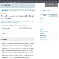 Operational resilience: concepts, design and analysis : Scientific Reports