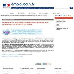 Lancement du programme opérationnel Initiative pour l'emploi des jeunes (IEJ) en France