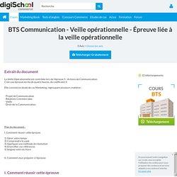 épreuve de veille opérationnelle BTS Communication
