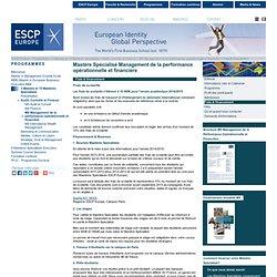 ESCP Europe Mastère Spécialisé Management de la performance opérationnelle et financière - Frais et financement - Enseignement supérieur - grande école de commerce - Formation