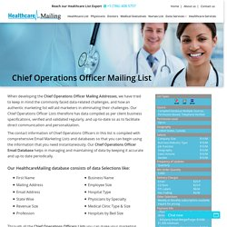 Chief Operations Officer Mailing List