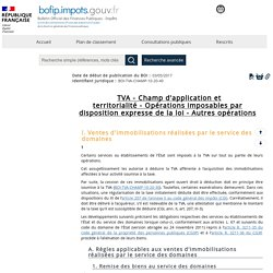 Opérations imposables par disposition expresse de la loi - Autres opérations ...