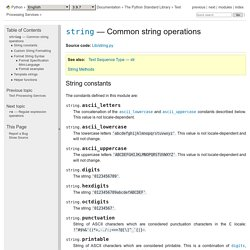 string — Opérations usuelles sur des chaînes — Documentation Python 3.8.3rc1