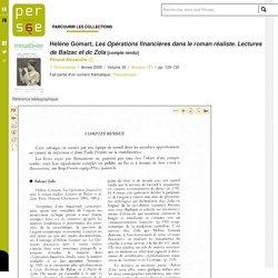 LIVRE - Les Opérations financières dans le roman réaliste. Lectures de Balzac et dc Zola