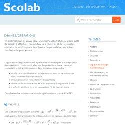 chaine d'opérations – Lexique de mathématique